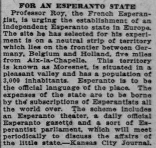 Bericht in de Kansas City Journal van 14 juli 1908 waarin de stichting van een Esperantostaat aan de grens van Duitsland, Holland en België wordt aangekondigd.