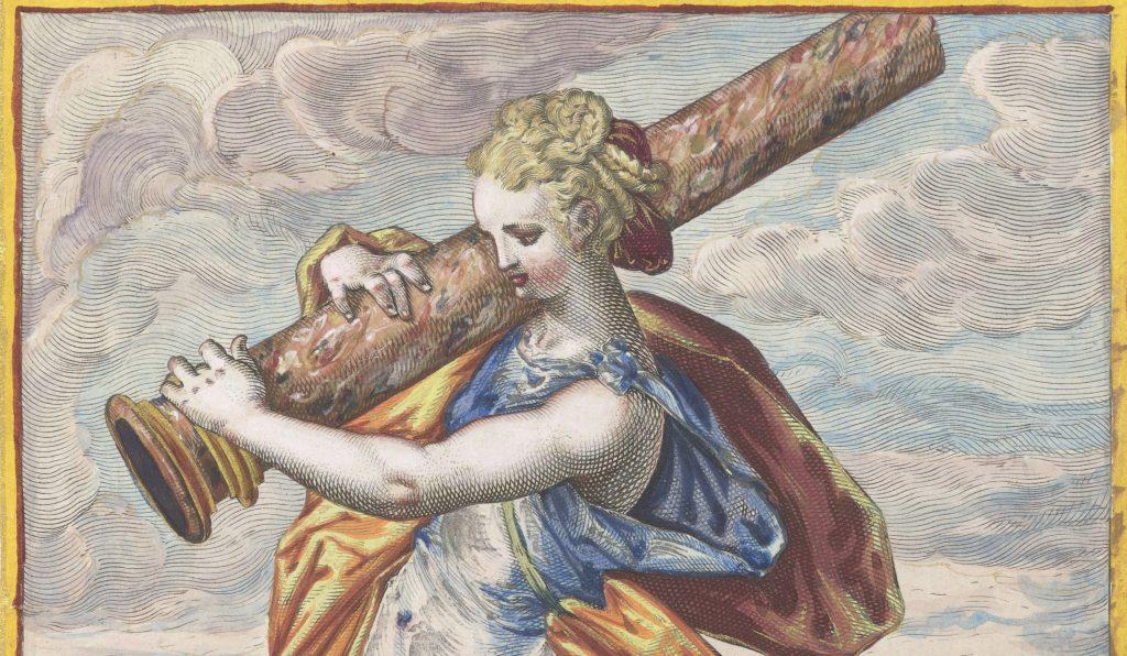 Jacob Matham (1571-1631), Kracht (Fortitudo), naar Hendrick Goltzius (1558-1617), ingekleurd door Monogrammist MÖ (1598)