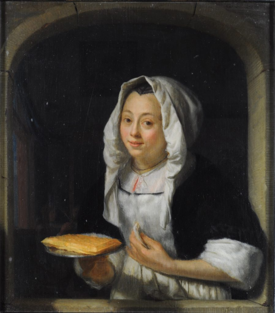 G. Schalcken, Jonge vrouw die een wafel aanbiedt, ca. 1667, paneel, particuliere collectie