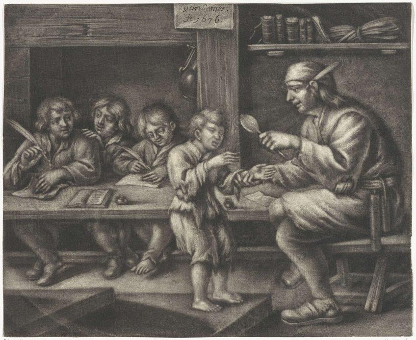 Schoolmeester geeft een jongen de plak - Jan van Somer, 1676 (Rijksmuseum)
