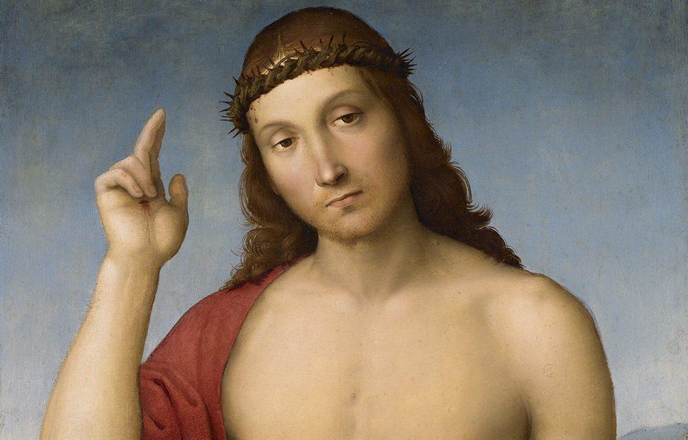 Rafaello Sanzio (Rafaël) 1483-1520), Christus de Verlosser zegent ons, ca. 1505-1506, olieverf op paneel, Pinacoteca Tosio Martinengo, Brescia (detail)