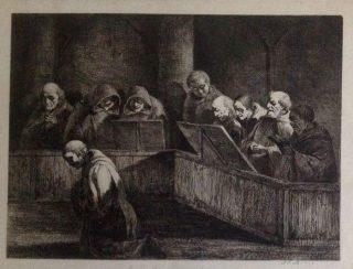 Biddende monniken in de kapel, 1795. Schilder onbekend. Bron: Catawiki België