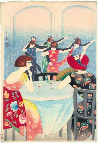 DANSEN IN HET NEW CARLTON HOTEL IN SHANGHAI, Yamamura Kōka (1885-1942). Kleurenhoutsnede op papier 1924, P0151. Collectie Elise Wessels – Nihon no hanga