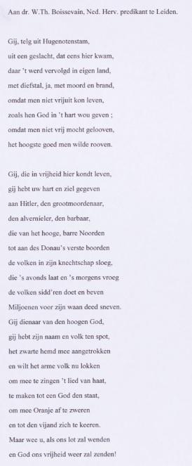 Gedicht tegen NSB-predikant Boussevain, door G. Voet (maart 1942). Bron: collectio NIOD, Amsterdam / geheugenvannederland.nl