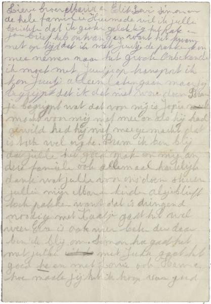 Brief moeder Juultje © Collectie Joods Historisch Museum