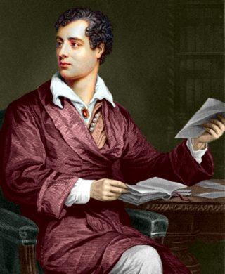 Lord Byron (1788-1824) ingekleurde gravure