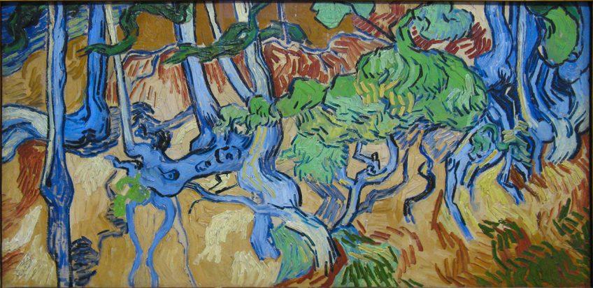 Boomwortels, het vermoedelijk laatste schilderij vanVan Gogh (1890)