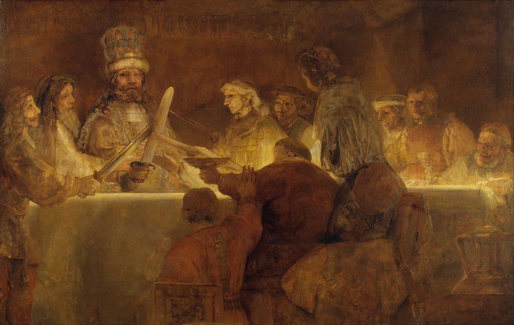 De samenzwering van de Bataven onder Claudius Civilis volgens Rembrandt van Rijn