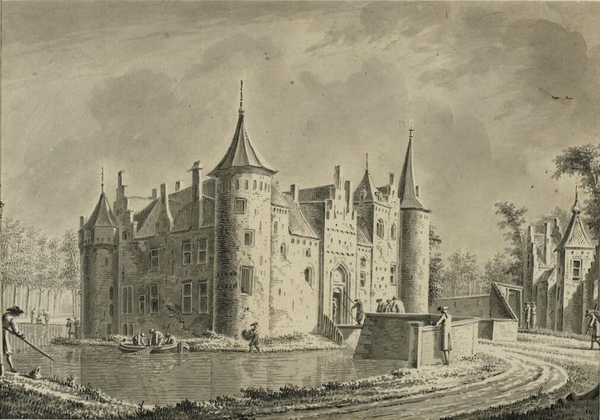 Gezicht op Kasteel Helmond, door Dirk Verrijk (2e helft 18e eeuw)