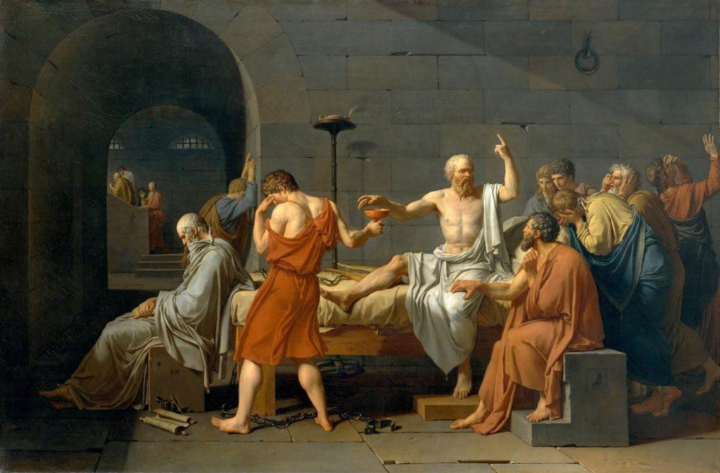 """""""De dood van Socrates"""". Schilderij van Jacques-Louis David (1787). Bron: Wikimedia"""
