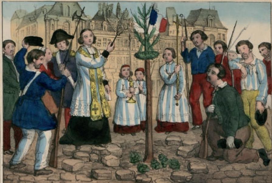 Revolutie 1848. Het planten van een 'vrijheidsboom' in Parijs om de revolutie te vieren.