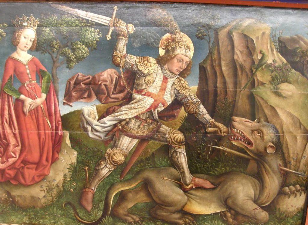 Sint Joris maakt de draak af. Door Jost Haller, ca.1450. Muséé Unterlinden, Colmar (Frankrijk). Bron: Wikimedia