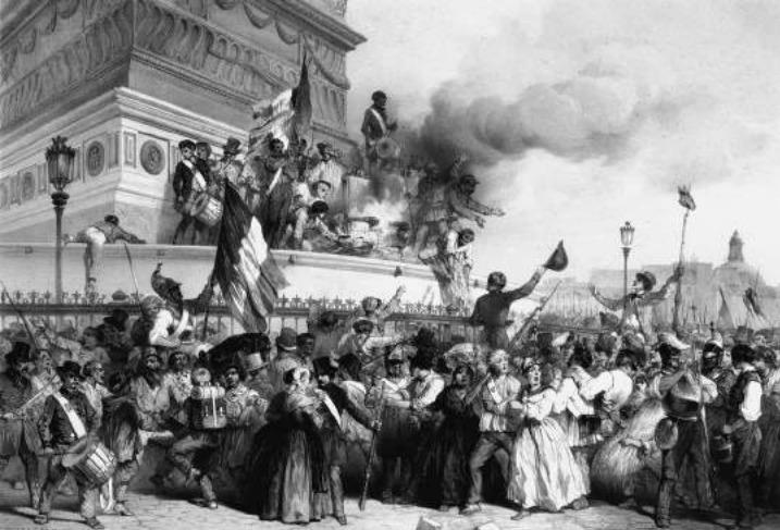 Revolutie 1848. De troon van Lodewijk Filips wordt verbrand op het monument voor de Julirevolutie (1830) op het Place de la Bastille.