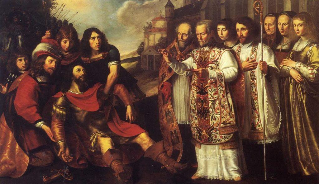 Bernhard van Clairvaux, promotor van de cisterciënzers, en de bekering van Willem van Aquitanië. Door Wouter Pieters Crabeth, 1641. Bron: Wikimedia.