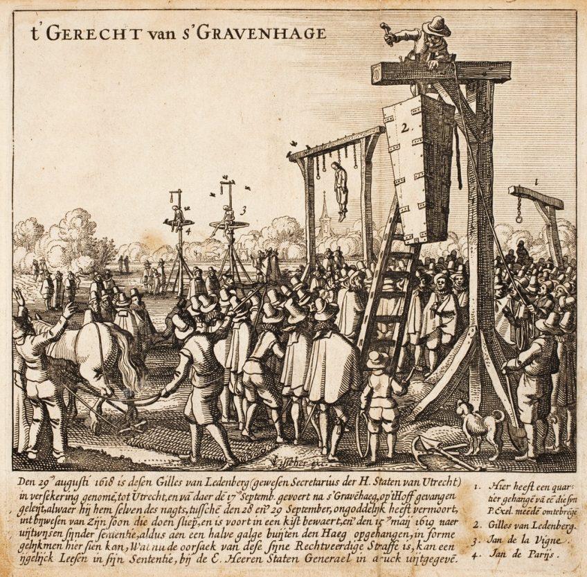 De postume ophanging van Gilles van Leedenberch (Claes Jansz. Visscher - Bibliotheek van het Vredespaleis)