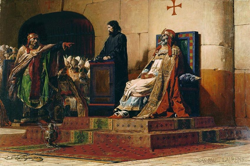 Stefanus VI (VII) (links) en de dode paus Formosus tijdens de Kadaversynode (Jean-Paul Laurens, 1870)