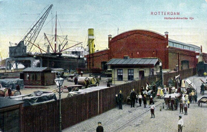 Loodsen van de Holland-Amerika Lijn aan de Wilhelminakade in Rotterdam