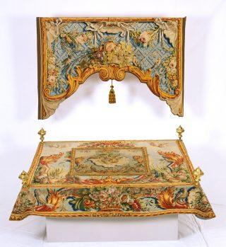 Tebahkleed en seferdek, 1720-1760, Collectie Joods Historisch Museum, bruikleen Portugees Israelitische Gemeente Amsterdam, voormalig bezit Portugees-Israelitische Gemeente Den Haag