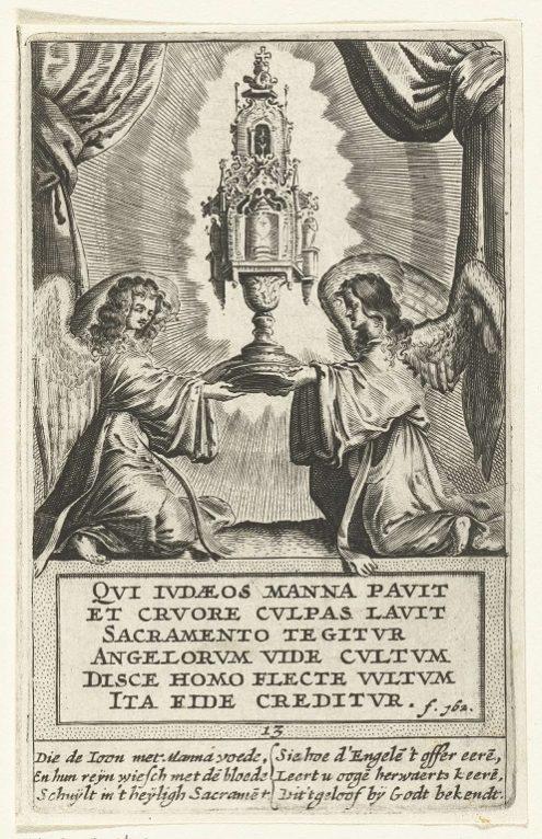 Twee engelen met de monstrans met het heilig Sacrament, Boëtius Adamsz. Bolswert, 1590 – 1633, Collectie Rijksmuseum