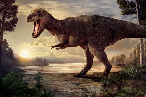 Wetenschappelijk onderbouwde 'artist impression' van Tyrannosaurus rex Trix. (Naturalis)