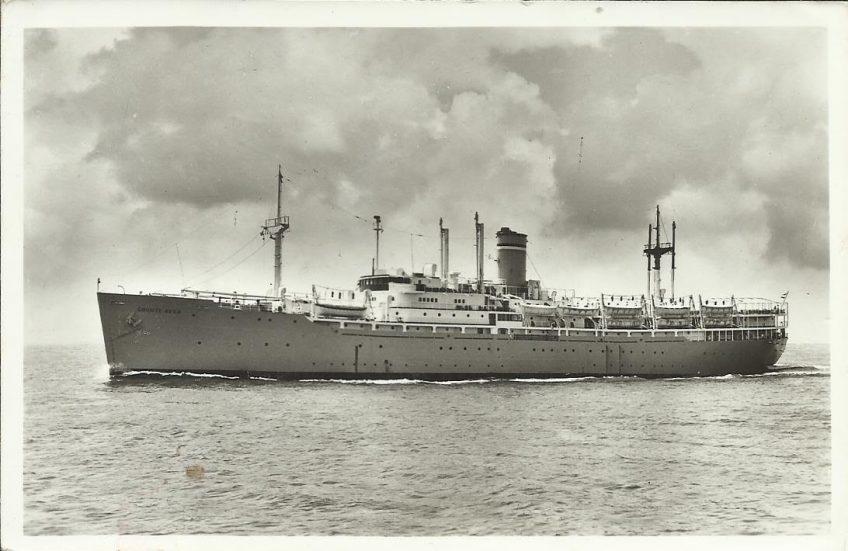 """SS """"Groote Beer"""" was van 1951 tot 1963 in gebruik als emigrantenschip. Bron: www.stoomvaartmaatschappijnederland.nl"""