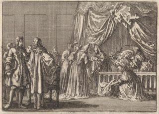 De geboorte van de zoon van koning James II van Engekand (Illustratie Jan Luyken, Pieter van der Aa,, 1698, Rijksmuseum)