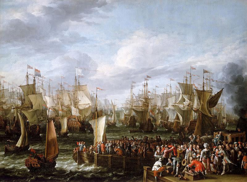 De enorme vloot van Willem III vertrekt 19 oktober 1688 uit Hellevoetsluis. (Abrahem Storck, National Maritme Museum,Greenwich)