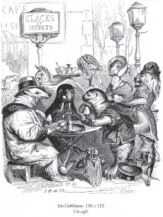 Een café. Illustratie van J.J. Grandville uit Scènes de la vie privée et publique des animaux, 1842.