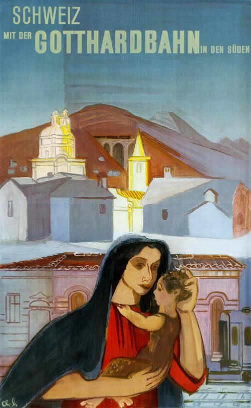 Affiche Gotthardbahn, Charles Hindenlang, 1947