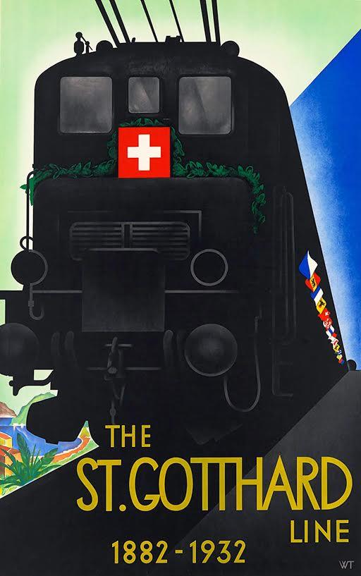 Affiche 50 jaar Gotthardlijn, Willi Trapp, 1932