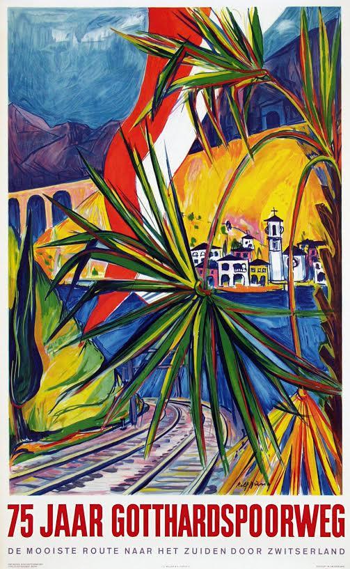 Affiche 75 jaar Gotthardspoorweg, Rolf Dürig, 1957