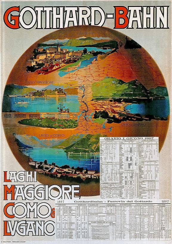 Affiche Gotthardbahn, Gabriele Chiattone, 1897
