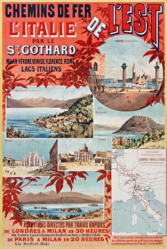 Affiche Est: Italië via de Gotthard, E. Bourgeois, 1892