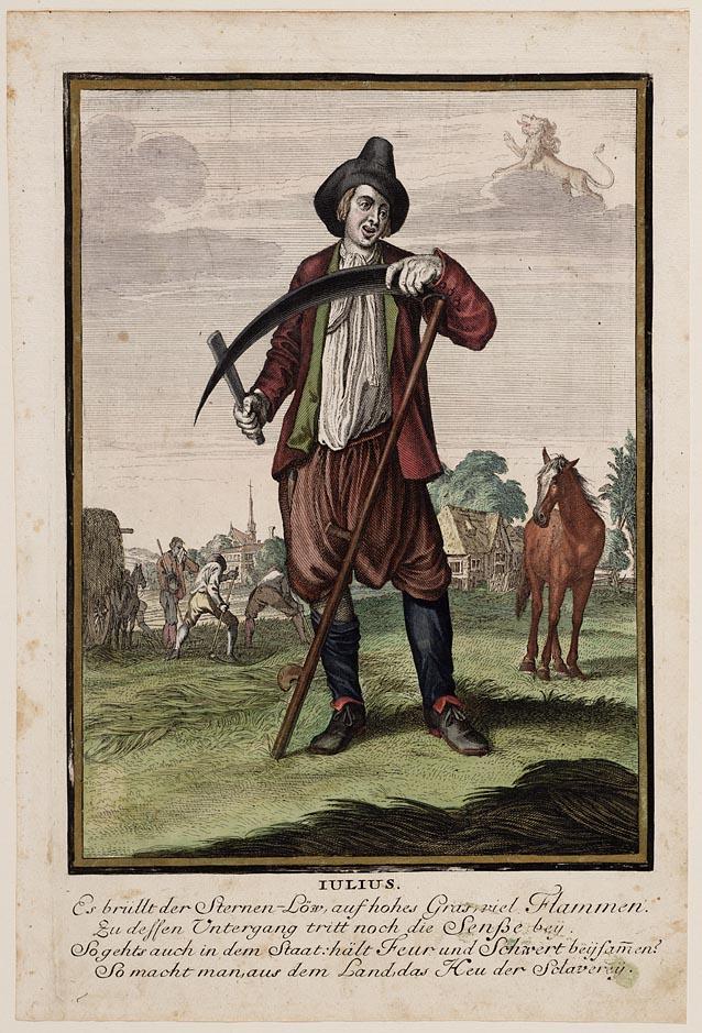 Casper Luyken, Iulius, 1700, ets en gravure afgezet met waterverf. Collectie Amsterdam Museum, A 44734