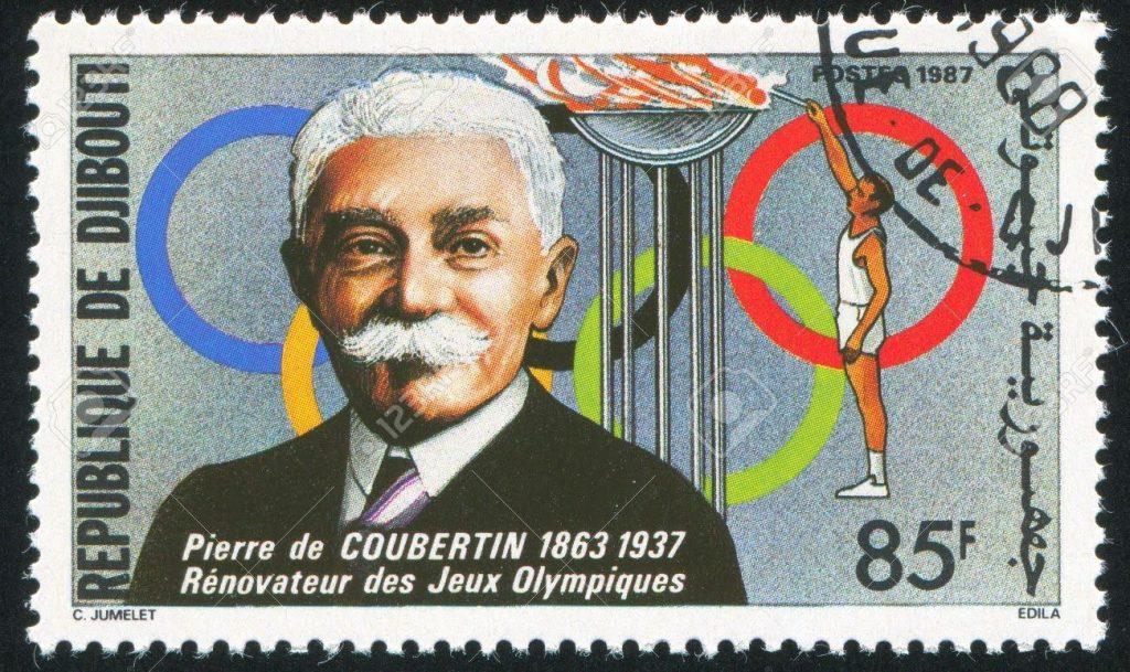 Postzegel met Pierre de Coubertin. Bron: 123rf.com