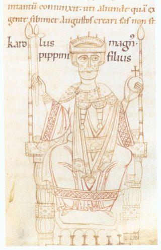 Afbeelding van Karel de Grote in de Kroniek van Ekkehard van Aura (ca. 1112/1114)