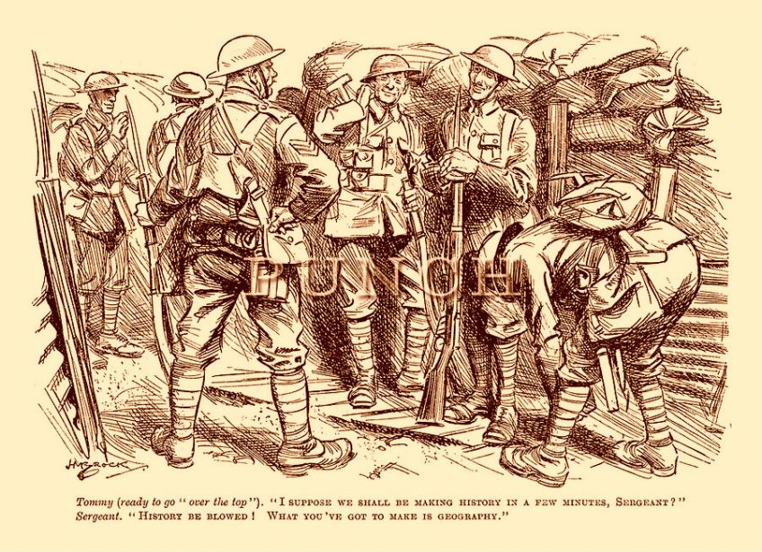 Spotprent over soldaten die bijna 'over de top' gaan (Punch, november 1916)