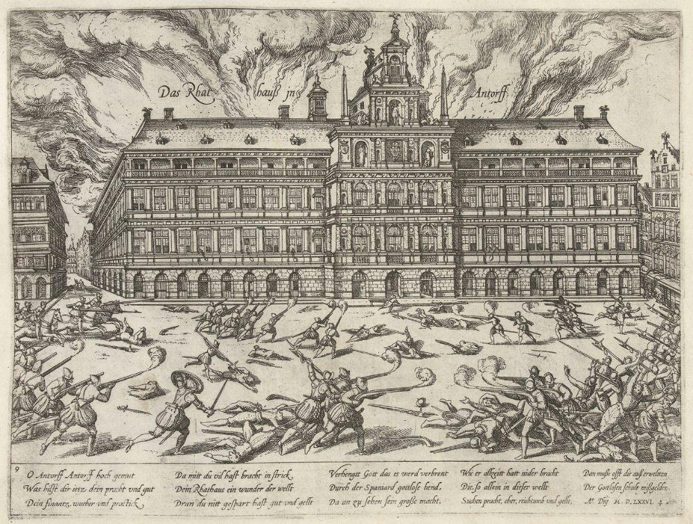 Tachtigjarige Oorlog - De Grote Markt met het Stadhuis tijdens de Spaanse furie. Prent van Frans Hogenberg.