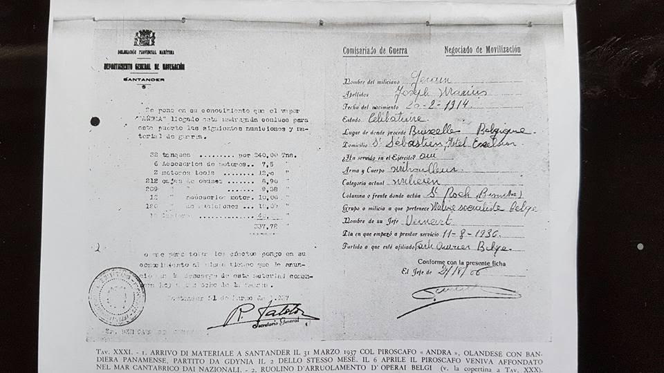 Ontvangstbon afgeleverde lading Andra in Santander - 1937 - IISG