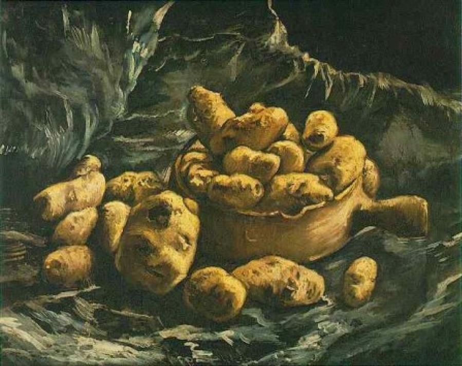 Stilleven met aarden kom met aardappelen, 1885