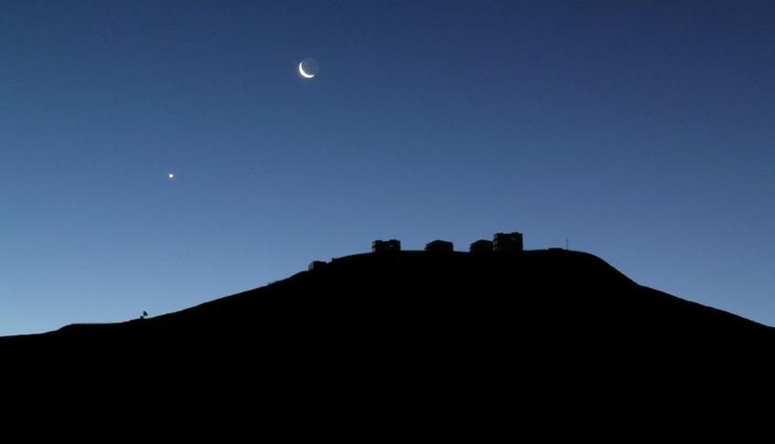 Venus en de maan, kort na zonsondergang
