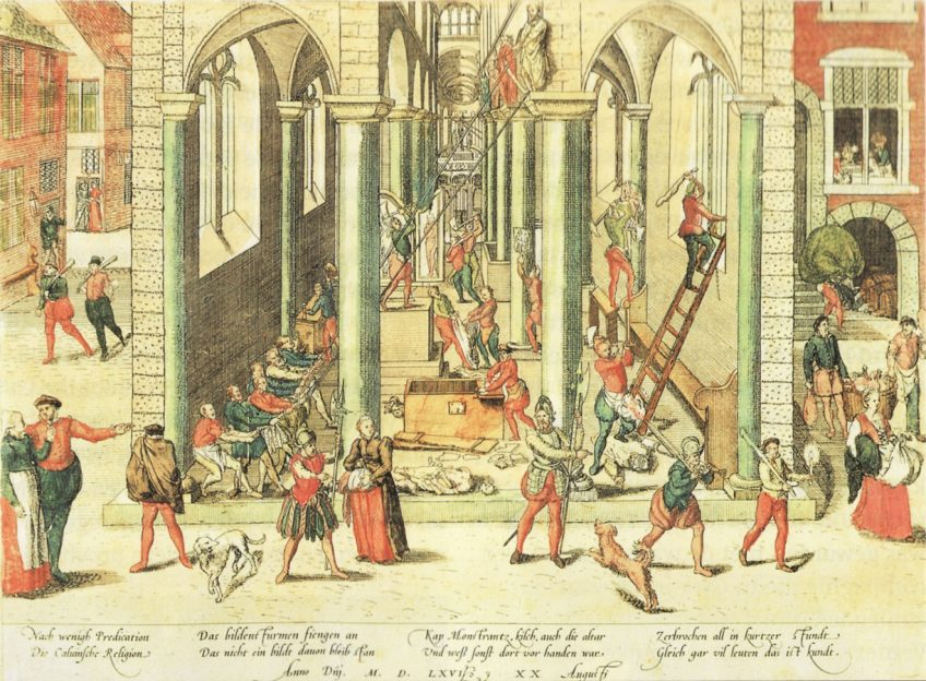 De Beeldenstorm. Vernieling van de Onze-Lieve-Vrouwekathedraal te Antwerpen op 20 augustus 1566. (gravure gemaakt door Frans Hogenberg)