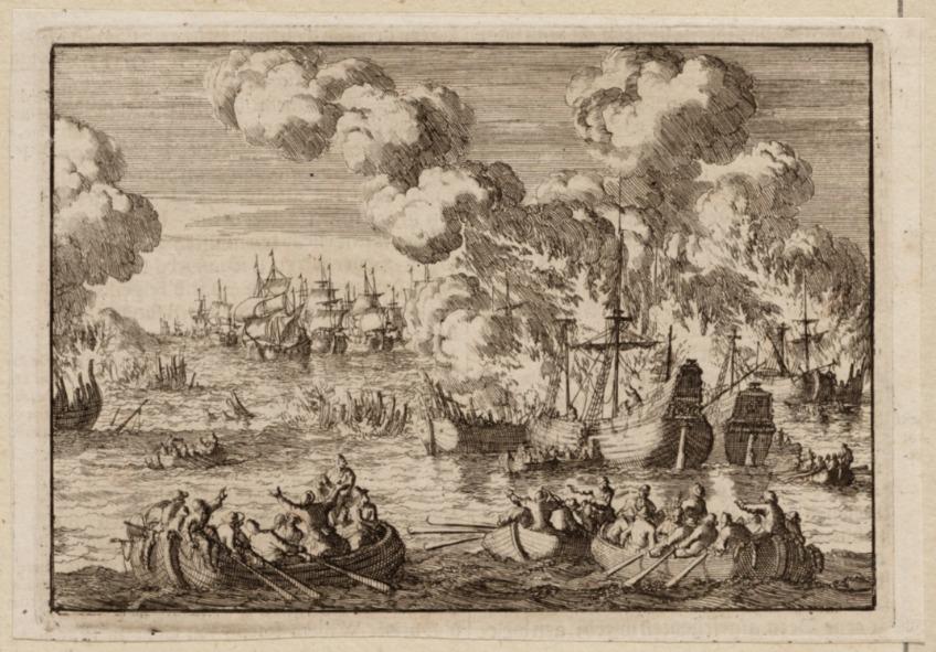"""Prent uit """"Historische kronyck of algmeene historische gedenk-boeken"""" door J.L. Gottfried, voorstellende de Hollandse koopvaardijvloot die wordt vernietigd, 1698. Amsterdam Museum, A 48449."""
