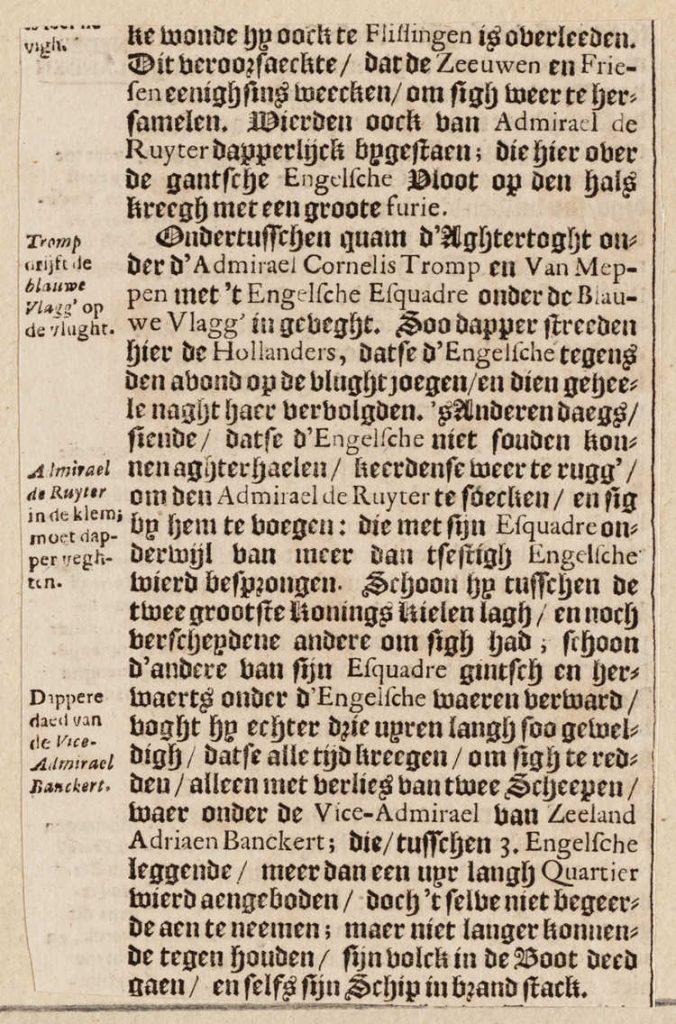 """Tekstfragment uit """"Historische kronyck of algmeene historische gedenk-boeken"""" door J.L. Gottfried, over de Hollandse koopvaardijvloot die wordt vernietigd, 1698. Amsterdam Museum, A 48450."""