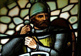 William Wallace, ook bekend van de film Braveheart, afgebeeld in een glas-in-lood-raam in Stirling, Schotland (CC BY-SA 3.0 - Otter - wiki)