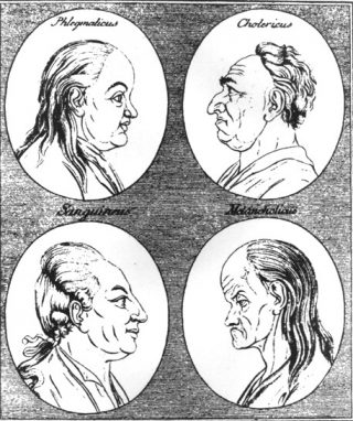 18e-eeuwse afbeelding van de vier temperamenten