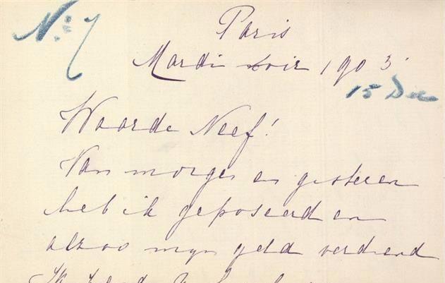 Detail van een van de brieven van Mata Hari