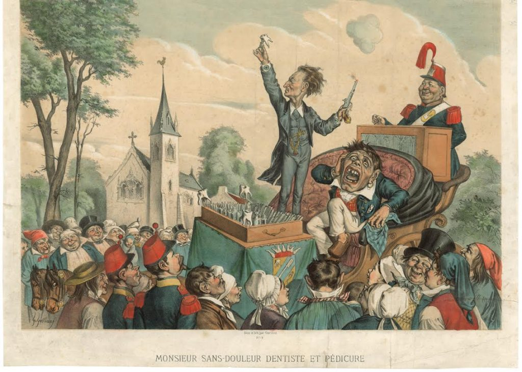 Gabriël Gostiaux Monsieur Sans-Douleur, Dentiste et Pédicure, 1868, litho, met de hand gekleurd, 331 x 512 mm