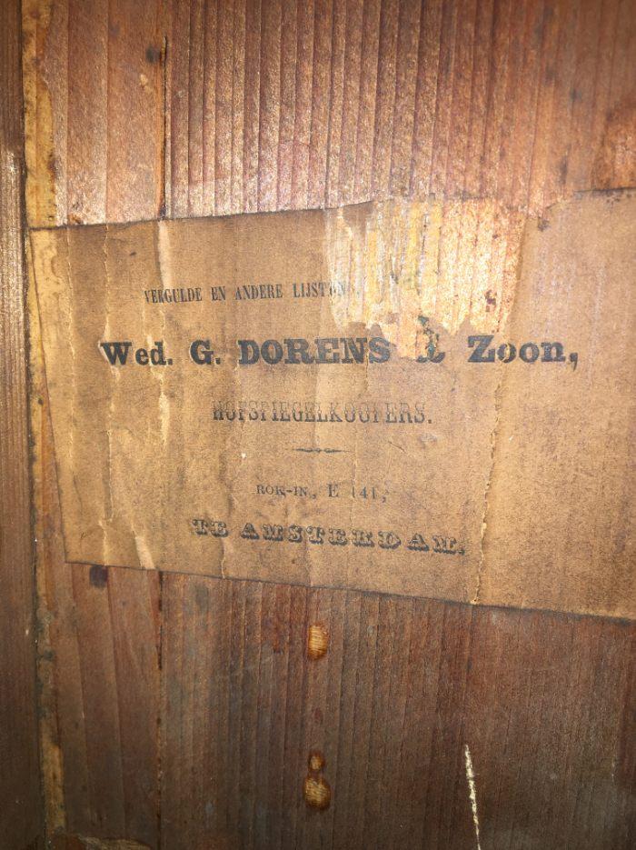 Etiket van de lijstenmaker Wed. G. Dorens & Zoon.
