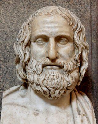 Marmeren buste van Euripides. Romeinse kopie van een Grieks origineel uit de 4e eeuw v.Chr. Museo Pio-Clementino te Rome.